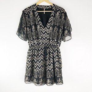 Free People Black & Gold Tassel Tied Waist Dress